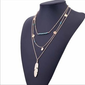 fancy fashions Jewelry - Feather Multilayer gold necklace!